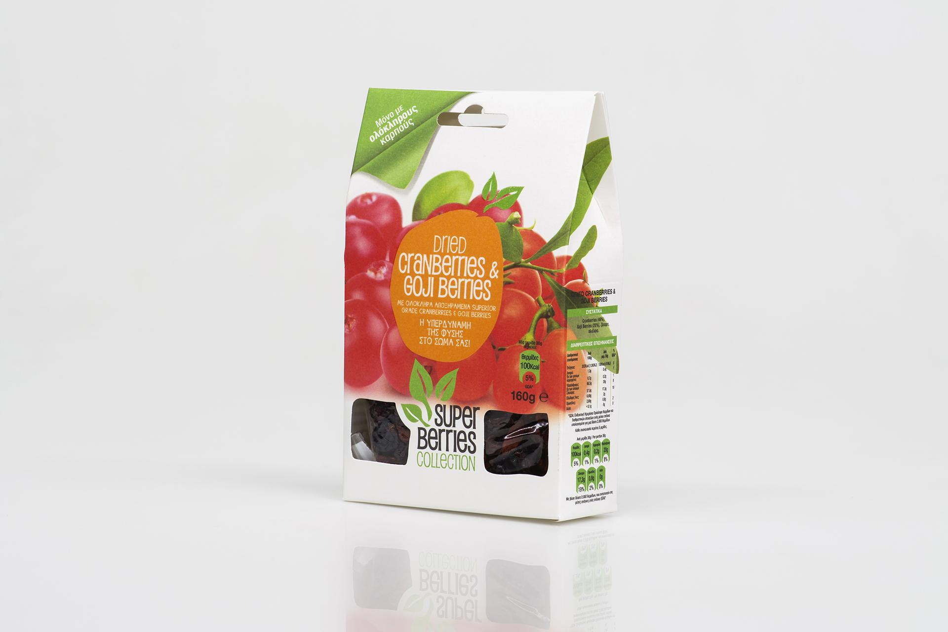 Cranberries, goji berries packaging